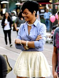 Rihanna in a boyfriend shirt, ballerina skirt and pearls