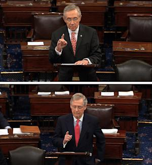 FILE - In this combination of July 11, 2013, file images from Senate Television Majority Leader Harry Reid, D-Nev., top, and Republican leader, Sen. Mitch McConnell, R-Ky., speak on the floor of the Senate on Capitol Hill in Washington. Democrats threatened to change Senate rules unilaterally if Republicans block yes-or-no votes on several of President Barack Obama's top-level nominees. Reid accused Republicans of trying to deny Obama the right to have his team in place, and accused McConnell of failing to live up to his commitments to allow votes on all nominees, except under extraordinary circumstances. Moments later, McConnell said Reid was misquoting him and at the same time failing to honor his word not to change the rules of the Senate unilaterally. (AP Photo/Senate TV, Files)