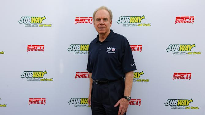 Hall of Famer Roger Staubach stops by the Subway Fresh Take Green Room before heading on the set of ESPN's Mike & Mike in the Morning for Super Week in New Orleans on Friday, Feb. 1, 2013. (Photo by Barry Brecheisen/Invision for SUBWAY/AP Images)