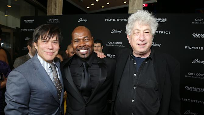 Producer Alan Siegel, Director Antoine Fuqua and Producer/Millennium Films' Avi Lerner at FilmDistrict's Premiere of 'Olympus Has Fallen' hosted by Brioni and Grey Goose at the ArcLight Hollywood, on Monday, March, 18, 2013 in Los Angeles. (Photo by Eric Charbonneau/Invision for FilmDistrict/AP Images)