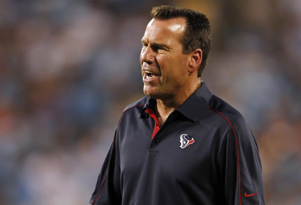Houston Texans head coach Gary Kubiak reacts during the first half of an NFL preseason football game against the Carolina Panthers in Charlotte, N.C., Saturday, Aug. 11, 2012. (AP Photo/Bob Leverone)