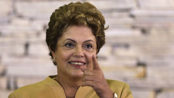 Brazil's President Dilma Rousseff reacts during the first ministerial meeting in Brasilia