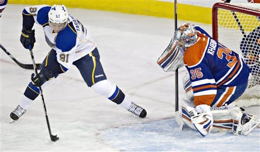 Halak makes 19 saves, Blues beat Oilers 3-0