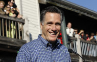 Republican presidential candidate, former Massachusetts Gov. Mitt Romney, campaigns at the Fish House in Pensacola, Fla., Saturday, Jan. 28, 2012. (AP Photo/Charles Dharapak)