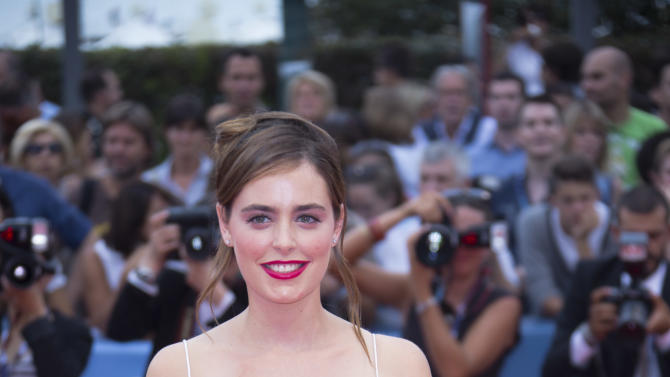 Actress Hadas Yaron arrives for the premiere of the movie 'Fill The Void' at the 69th edition of the Venice Film Festival in Venice, Italy, Sunday, Sept. 2, 2012. (AP Photo/Joel Ryan)