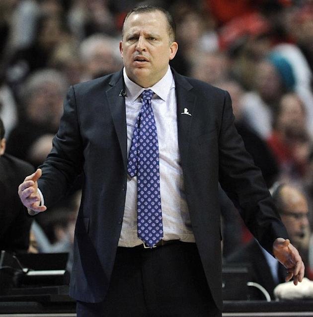 Chicago Bulls head coach Tom Thibodeu stands on the sidelines during overtime of an NBA basketball game against the Miami Heat in Chicago, Sunday, March 9, 2014. The Bulls won 95-88 in overtime