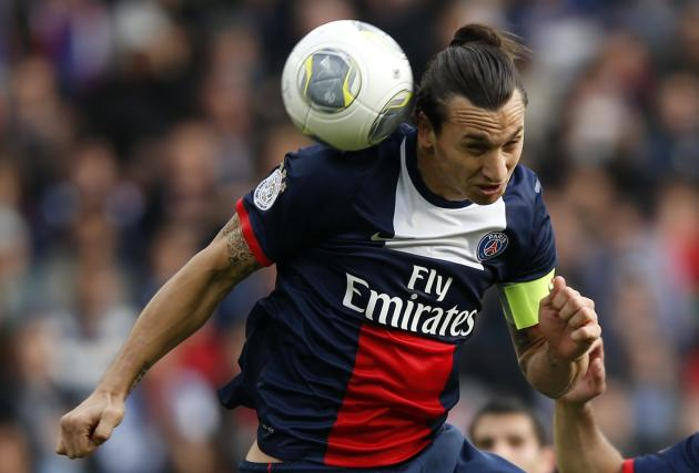 Paris St Germain's Ibrahimovic scores his second goal for the team during their French Ligue 1 soccer match against Bastia in Paris