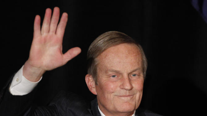 Senate candidate Rep. Todd Akin, R-Missouri, waves to the crowd while introduced at a senate candidate forum during a Republican conference in Kansas City, Mo. Akin, Missouri's GOP Senate candidate, has questioned whether women can become pregnant when they're raped, Sunday, Aug. 19, 2012. (AP Photo/Orlin Wagner, file)