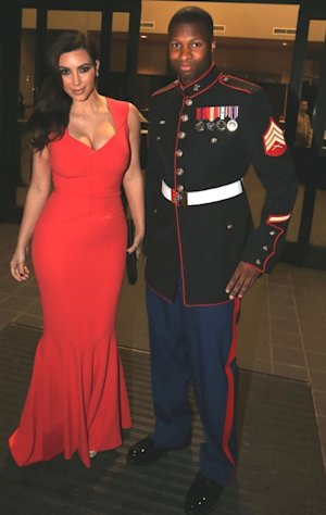Kim Kardashian and Sgt. Martin Gardner are seen at the HQ Battery 10th Marine Birthday Ball in Greenville, North Carolina, November 15, 2012