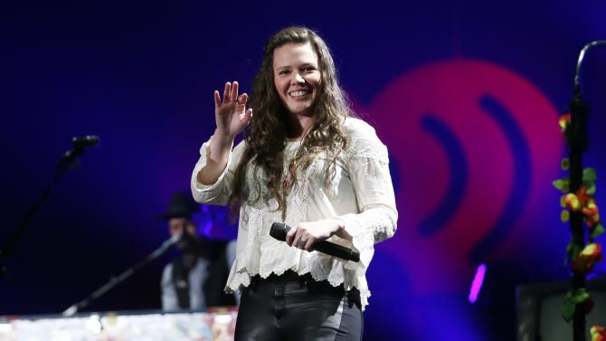 Joy Huerta of Mexican pop duo Jesse & Joy performs during the first-ever iHeartRadio Fiesta Latina at The Forum in Inglewood, California