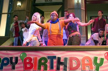 Mushmouth ( Jermaine Williams ) and his friends wow partygoers with their dance moves in 20th Century Fox's Fat Albert
