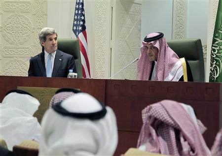 Saudi Foreign Minister Prince Saud Al-Faisal (R) speaks during a joint news conference with U.S. Secretary of State John Kerry at the Ministry of Foreign Affairs in Riyadh, March 4, 2013. REUTERS/Fahad Shadeed