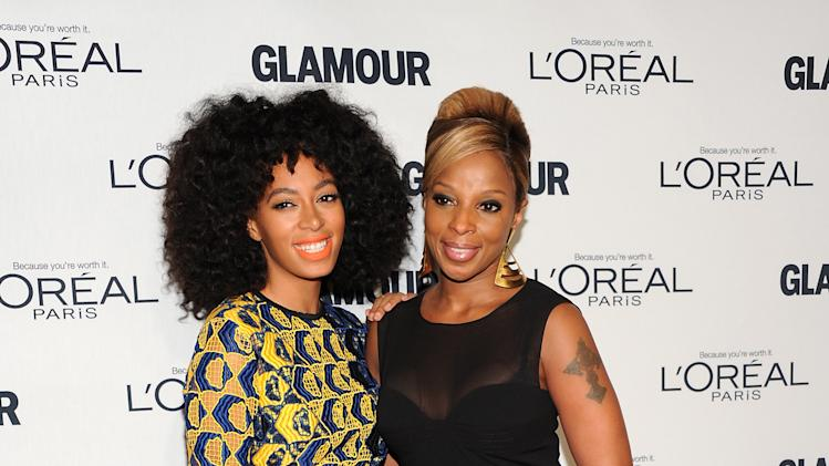 "Singer Solange Knowles, left, and Mary J. Blige attend Glamour Magazine's 22nd annual ""Women of the Year Awards"" at Carnegie Hall on Monday Nov. 12, 2012 in New York. (Photo by Evan Agostini/Invision/AP)"