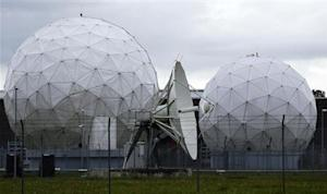 A satellite dish is seen in the former monitoring base of the National Security Agency in Bad Aibling