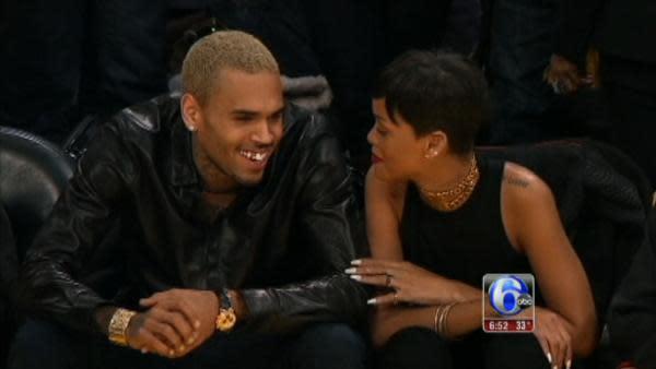 Rihanna, Chris Brown together at Lakers game