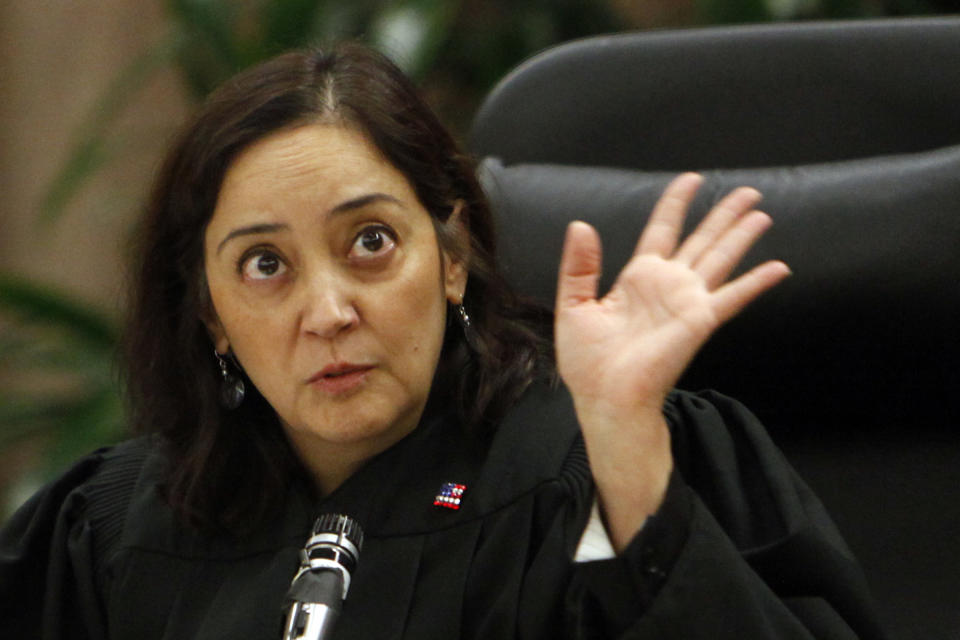 Judge Yvette M. Palazuelos during the rebuttal argument in the Michael Jackson family case against concert promoter AEG Live LLC in a downtown Los Angeles courtroom, Thursday, September 26, 2013. The case is expected to go to the jury later today. (AP Photo/Los Angeles Times, Al Seib, Pool)