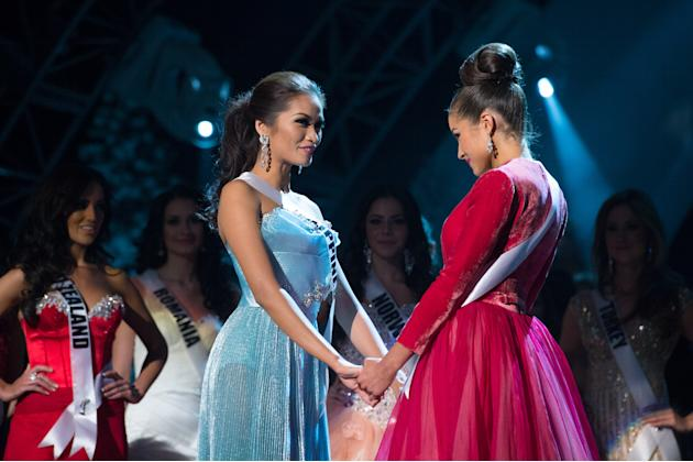 Miss Universe Philippines, Janine Tugonon, is declared first runner-up as, Miss USA, Olivia Culpo, is named the winner of the 2012 Miss Universe Competition. She will be crowned with the Diamond Nexus