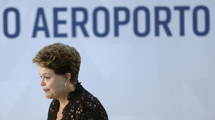 Rousseff looks on during the inauguration ceremony for the South Pier of the Juscelino Kubitschek International Airport in Brasilia