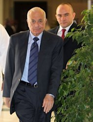 Arab League secretary general Nabil al-Arabi (L) arrives to attend an Arab ministerial committee meeting in Doha to discuss the Syrian crisis. Arab leaders called for UN action on Saturday as at least 38 people were killed in Syria amid growing concern that envoy Kofi Annan's peace plan is failing and the country is descending into all-out civil war