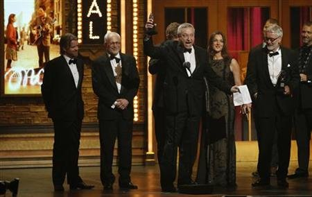"The producers of the musical ""Once"" react after winning a Tony for ""Best Musical"" during the American Theatre Wing's 66th annual Tony Awards in New York"