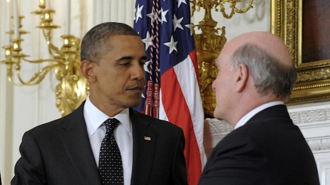 President Barack Obama shakes hands with outgoing White House Chief of Staff Bill Daley, Monday, Jan. 9, 2012, in the State Dining Room at the White House in Washington. Obama announced Jack Lew, the administration's current budget director, will replace Daley. (AP Photo/Susan Walsh)