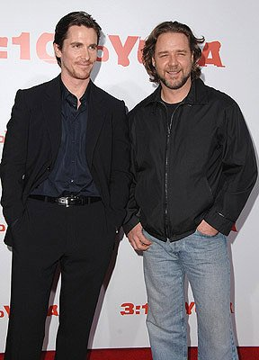 Christian Bale and Russell Crowe at the Los Angeles premiere of Lionsgate Films' 3:10 to Yuma