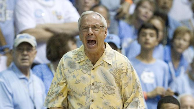 North Carolina coach Roy Williams shouts instructions to his team during the first half of an NCAA college basketball game against Butler in the Maui Invitational on Tuesday, Nov. 20, 2012, in Lahaina, Hawaii. (AP Photo/Eugene Tanner)