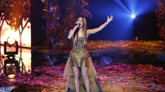 "FILE - This Monday, Dec. 17, 2012 file photo released by NBC shows Cassadee Pope performing on ""The Voice,"" ""Live Show"" Episode 323A on the part one season 3 finale in Los Angeles.  Pope won the singing competition for season 3 on Dec. 18, 2012. Powered by football and ""The Voice,"" NBC took the lead in the ratings last week.  (AP Photo/NBC, Tyler Golden, File)"