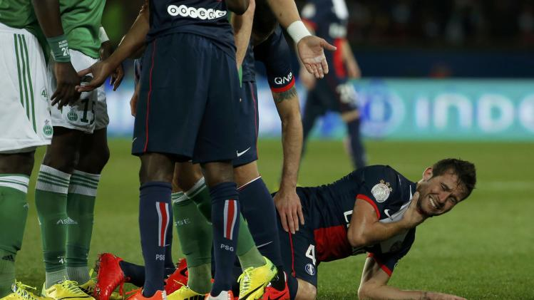 Paris St Germain's Cabaye grimaces during the French Ligue 1 soccer match against St Etienne at the Parc des Princes Stadium in Paris
