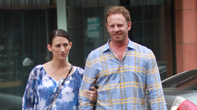 Ian Ziering takes his wife to the doctor's office in Beverly Hills, CA