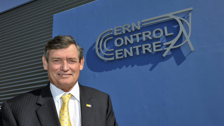 "Timothy P. White, Chancellor of University of California Riverside (UCR), poses, while he visits the ""CCC"" Cern Control Center, at the European Particle Physics laboratory (CERN) near Geneva, Switzerland, Friday, March 16, 2012. (Martial Trezzini / AP Images for University of California, Riverside)"