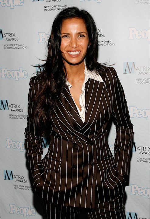 Padma Lakshmi dressed in a Christian Dior suit arrives at the 2008 Matrix Awards Luncheon held at the Waldorf Astoria Hotel on April 7, 2008 in New York City.
