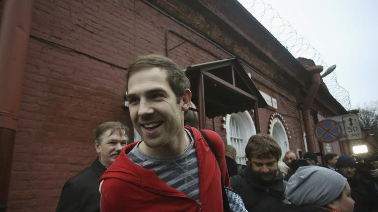 File photo of videographer Bryan of Britain reacting as he is released on bail from prison in St. Petersburg
