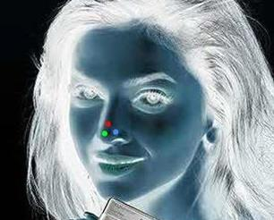 Optical Illusion Lady With Red Dot