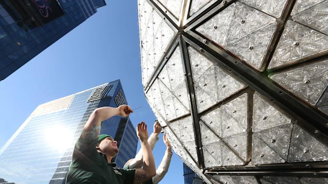 Times Square Prepares For 2015 - The Waterford Crystal Installation