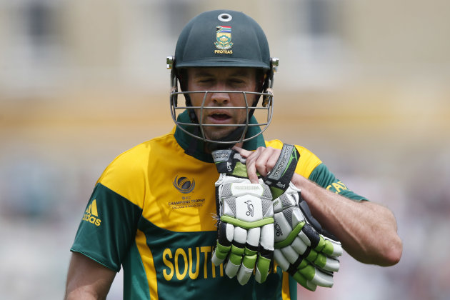 South Africa's AB de Villiers walks off the crease after caught out by England's Jos Buttler bowled by Stuart Broad during their ICC Champions Trophy semifinal cricket match at the Oval cricket ground