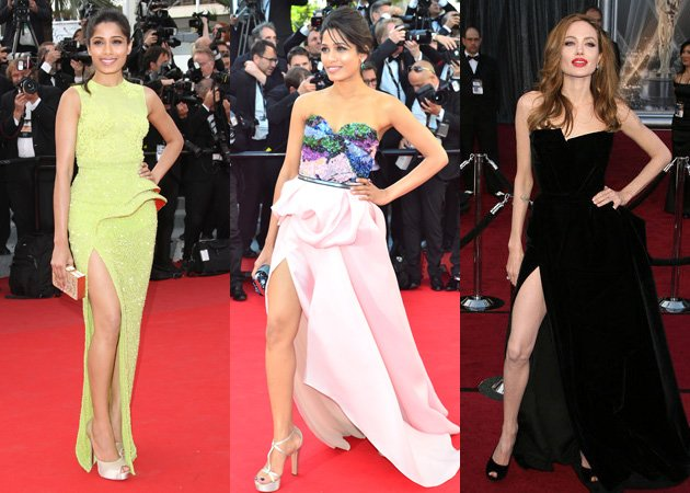Freida Pinto, Angelina Jolie, Right leg, Cannes