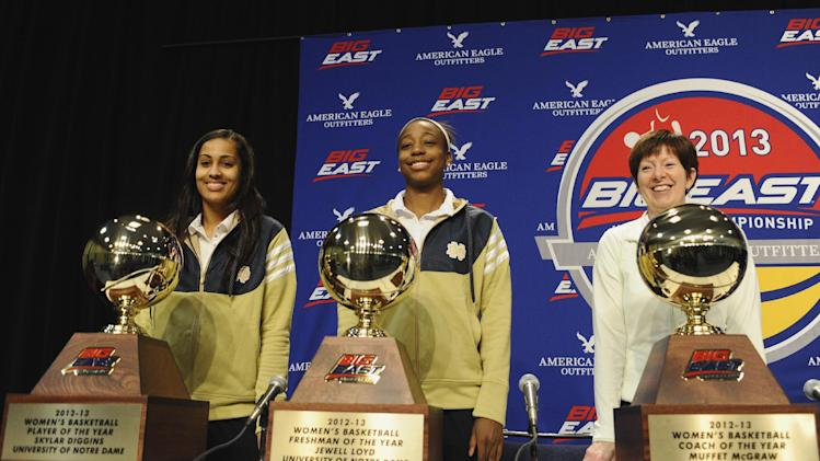 From the left, Notre Dame's Skylar Diggins, poses with the Big East Conference's women's basketball player of the year award. Jewell Loyd with the conference freshman of the year Award, and head coach Muffet McGraw with the conference coach of the year award after a news conference in Hartford, Conn., Friday, March 8, 2013.(AP Photo/Jessica Hill)