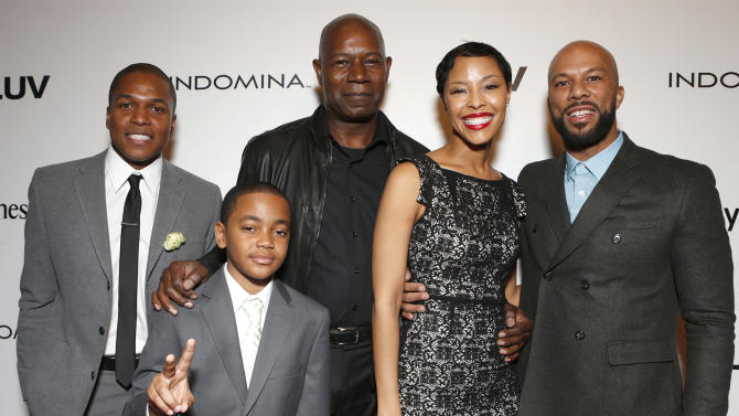 """Director Sheldon Candis, Michael Rainey Jr., Dennis Haysbert, Tracey Heggins and Common attend the LA premiere of """"Luv"""" at the Pacific Design Center on Thursday, Jan. 10, 2013, in West Hollywood, California. (Photo by Todd Williamson/Invision/AP)"""