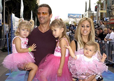 Lorenzo Lamas and Shauna Sand Lamas and girls at the Hollywood premiere of Monsters, Inc.