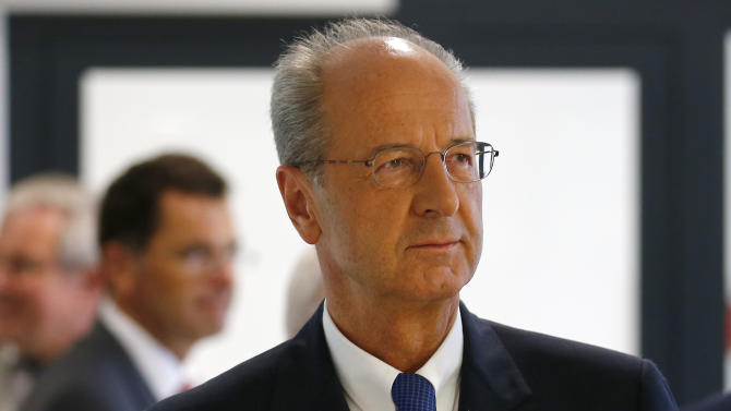 Poetsch CFO of Volkswagen arrives for a news conference following supervisory board meeting at headquarters in Wolfburg