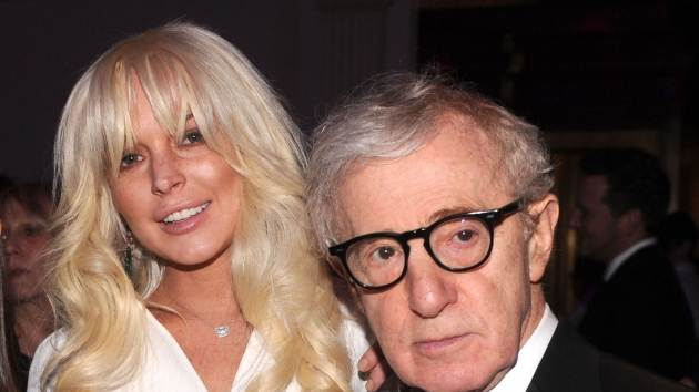 Lindsay Lohan and Woody Allen are spotted at the amfAR New York Gala To Kick Off Fall 2012 Fashion Week at Cipriani Wall Street in New York City on February 8, 2012 -- Getty Images