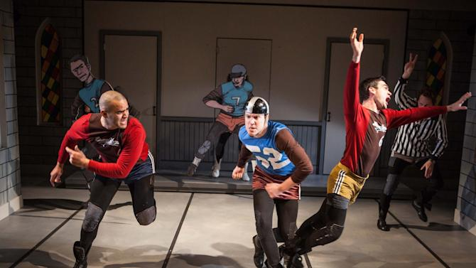 """This publicity photo released by Boneau/Bryan-Brown shows, from left, Christopher Jackson, Patch Darragh, Dan Domingues and Todd Weeks at rear, in a scene from  """"The Jammer"""", currently performing off-Broadway at Atlantic Theater Company's Stage 2 in New York.  (AP Photo/Boneau/Bryan-Brown, Kevin Thomas Garcia)"""