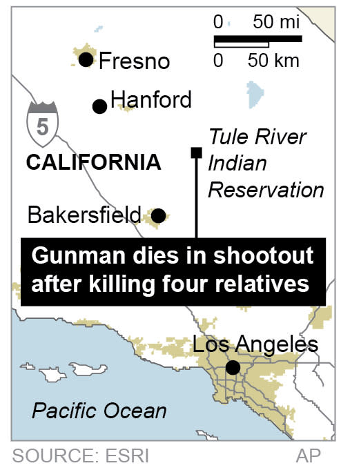 Map Tule River Indian reservation in California, where a man went on a shooting rampage that left a daughter, his mother and her two brothers dead.