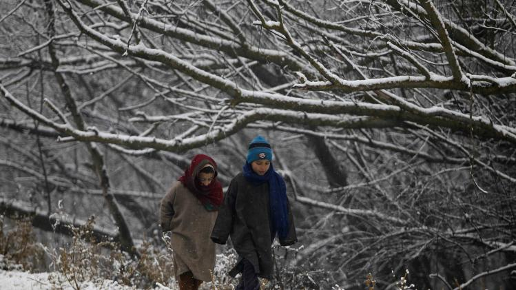 Kashmiri children walk under snow-covered trees during the season's first snowfall on a cold winter morning in Srinaga