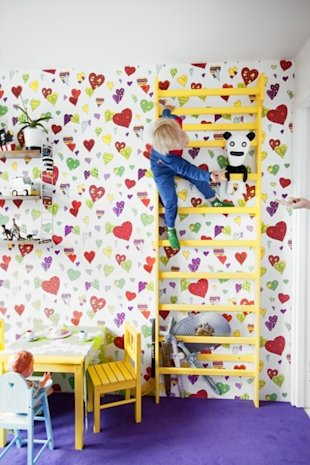 How cute is this yellow ladder in this kids space?