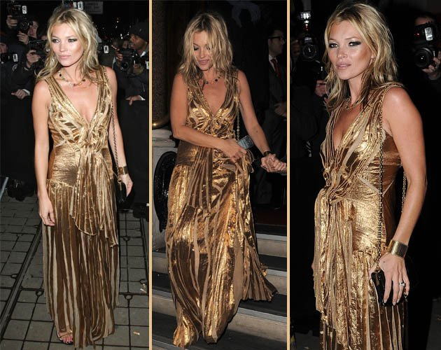 Kate Moss dazzles in metallic gold gown at her book launch party ...