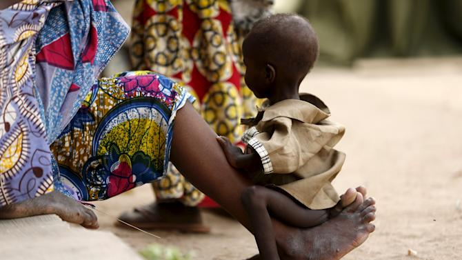 A child rescued from Boko Haram in Sambisa forest is seen at the Internally Displaced People's camp in Yola, Nigeria