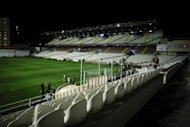 A general view of the the Estadio de Vallecas ahead of the Spanish League football match between Rayo Vallecano and Real Madrid. Real Madrid's La Liga match at Rayo Vallecano was postponed on Sunday after the floodlights failed amid reports of electrical cables being sabotaged