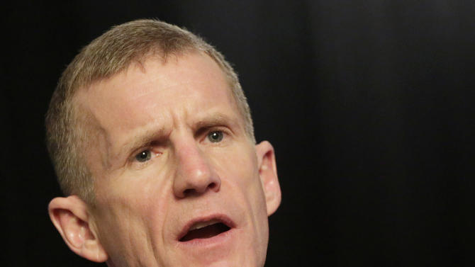 """Retired Gen. Stanley McChrystal talks during an interview with The Associated Press, Monday, Jan. 7, 2013 in New York. McChrystal says he was """"completely surprised"""" by the uproar that followed publication of a Rolling Stone article featuring derogatory comments attributed to his staff about the Obama administration.  (AP Photo/Mark Lennihan)"""